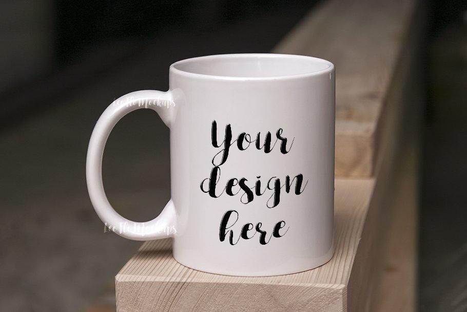White Coffee Mug Mock up on wood psd ~ Product Mockups ...