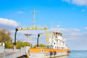industrial ship. Danube river