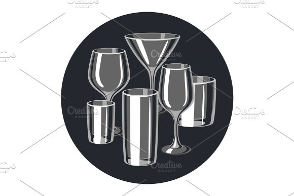 Types of bar glasses. Set of alcohol glassware