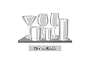 Types of bar glasses. Set of alcohol glassware on shelf