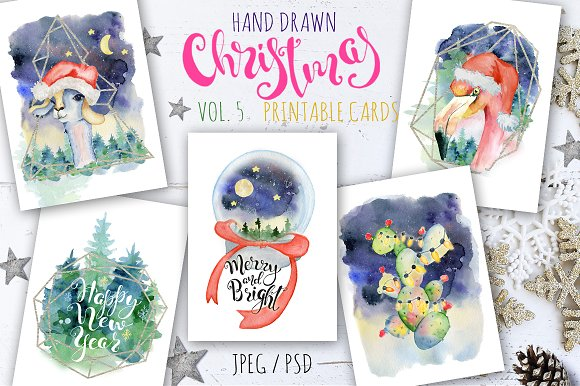 Christmas watercolor cards Vol.5