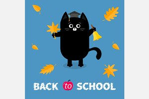 Back to school. Black cat. Leaves