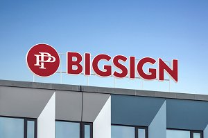 3D big sign logo mock signboard roof