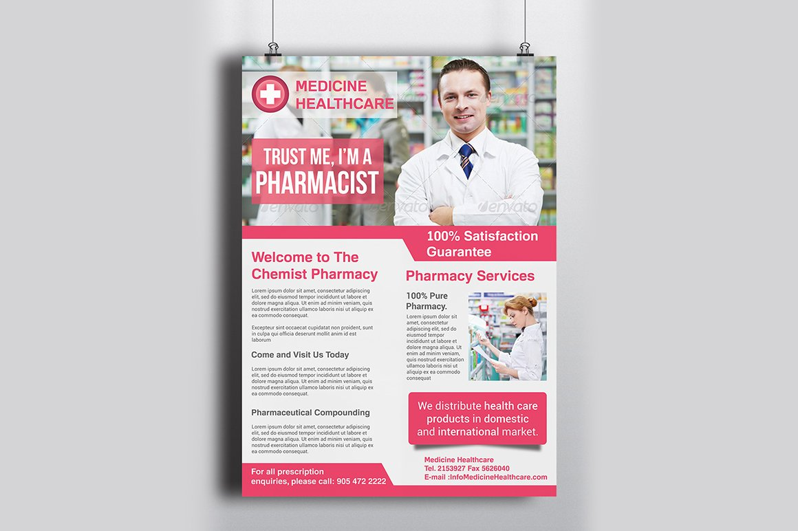 Pharmacy flyer template flyer templates creative market for Pharmacy brochure template