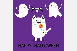 Happy Halloween. Spooky cat. Ghosts