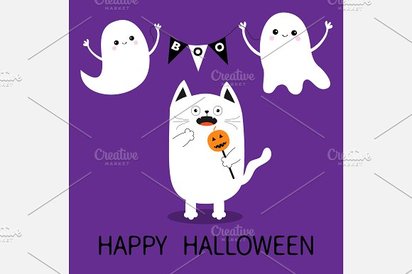 Happy Halloween. Spooky cat. Ghosts in Illustrations