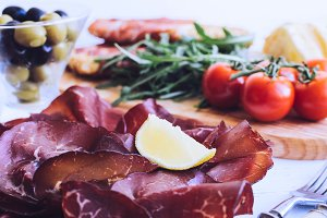 Slices of Bresaola on a plate