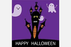 Halloween card. Haunted house ghost