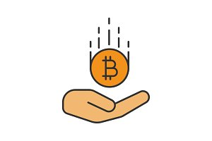 Open hand with bitcoin color icon