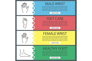 Human body parts web banner templates set