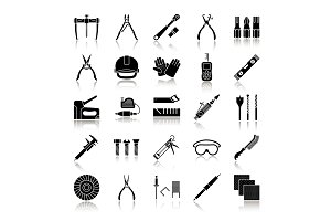Construction tools drop shadow black glyph icons set