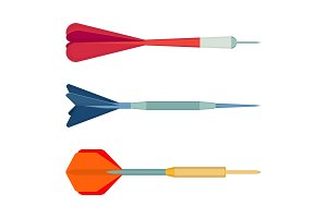 Dart arrows small missiles with different shape color vector