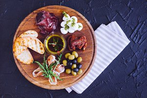 Meat and cheese plate antipasti snack