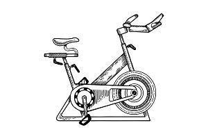 Sport equipment bike engraving vector illustration
