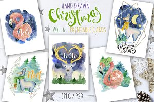 Christmas watercolor cards Vol.6