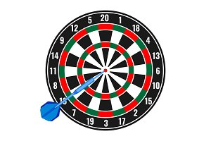 Dartboard with small missile arrow in goal realistic vector