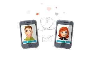 Dating application with man and woman communicating via smartphones