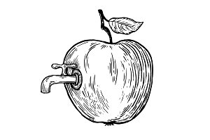 Apple fruit with tap engraving vector illustration
