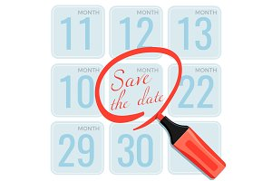 Save the date note made by marker on calendar vector