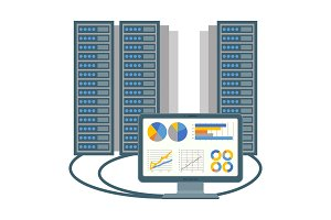 Data centre icon of computer and blocks vector illustration