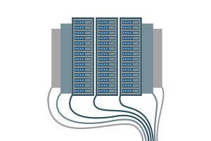 Data centre icons of cables and blocks vector illustration