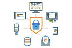 Data security poster with elements on vector illustration