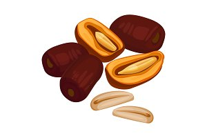 Delicious sweet healthy dates fruits with oblong ossicles