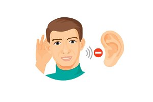 Deaf male character with ear closeup and stop sign