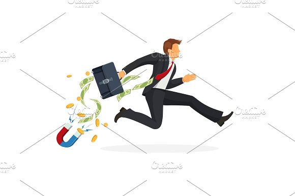 Businessman In Suit Runs Fast With Leather Suitcase