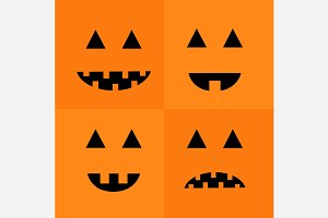 Pumpkin Smiling sad face emotion set