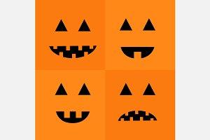 Pumpkin Smiling sad face emotion set