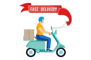 Fast delivery man on moped on vector illustration