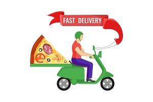 Fast delivery man and pizza on vector illustration