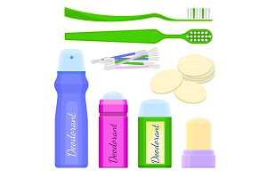 Deodorant icons and toothbrushes with sponges vector illustration