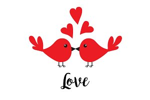 Two kissing bird family. Love
