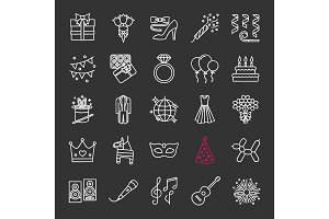 Holiday accessories chalk icons set