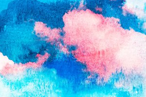 Abstract watercolor clouds and sky