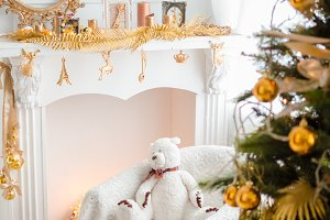Beautiful holiday decorated room with Christmas tree
