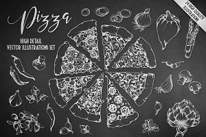 Vector Pizza Hand Drawn Illustration
