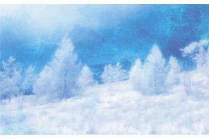 Watercolor Winter landscape on white