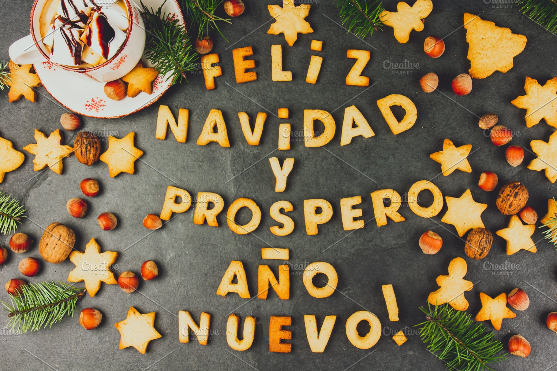Merry Christmas In Spanish.Feliz Navidad En Spanish Cookies Words Merry Christmas And Happy New Year En Spanish With Baked Cookies Christmas Card For Hispanic Countries Top