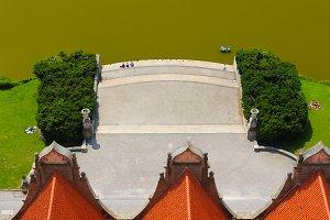 Lake, roof, park, tourists