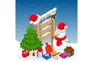 New year and Merry Christmas Winter background. Isometric vector illustration