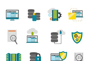 Flat Datacenter Icon Set