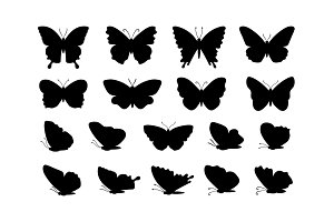 Silhouettes of butterflies