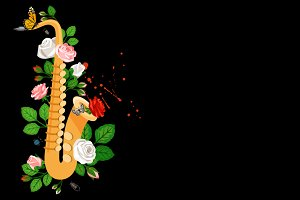 Saxophone with roses