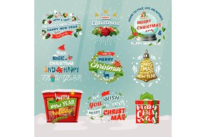 New year 2018 and christmas items for winter holiday