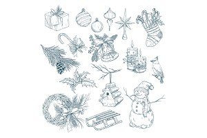 2018 new year and christmas isolated sketches