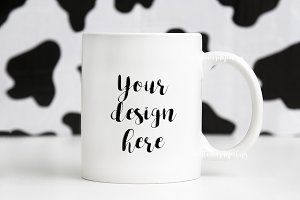 White Coffee Mug Mockup animal print