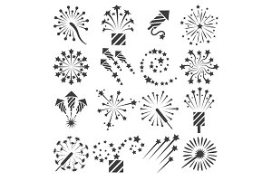 Firework icons, party signs